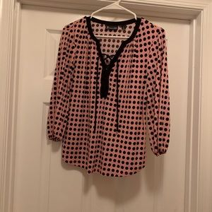 New York & Co. pink shirt w/ black polka dots
